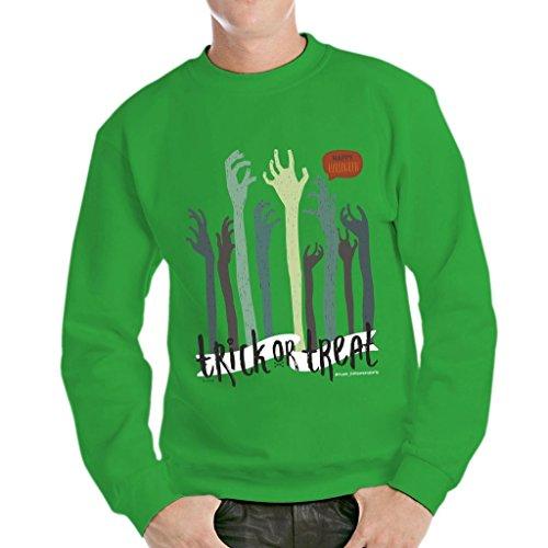 MUSH Sweatshirt Trick Or Treat Happy Halloween Party - Zombie Hand - LUSTIG by Dress Your Style - Herren-L-Grün (Happy Halloween-lustiges Meme)