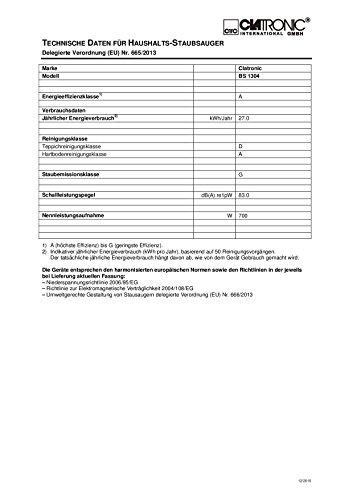 Clatronic BS 1304 Bodenstaubsauger EEK A, schwarz / rot -
