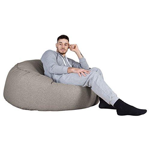 Lounge Pug, 'Mammoth' Sofa Sitzsack XXL, Riesen Sessle, Interalli Wolle Silber