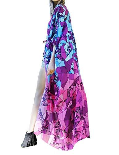 Cardigan Bluse (Uniquestyle Damen Sommer Kimono Cardigan Strand Chiffon Bluse Tops Boho Bikini Cover Up (Hell-Pink, one Size))
