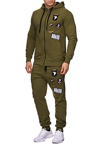 Herren Jogging-Anzug USA-Patches 685 (XXL-Slim, Khaki)
