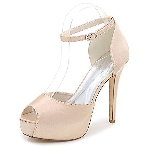 Elobaby donna scarpe da sposa abito raso abito raso tacco alto con fibbia/35-43 taglia/12,5 heel, champagne, 36