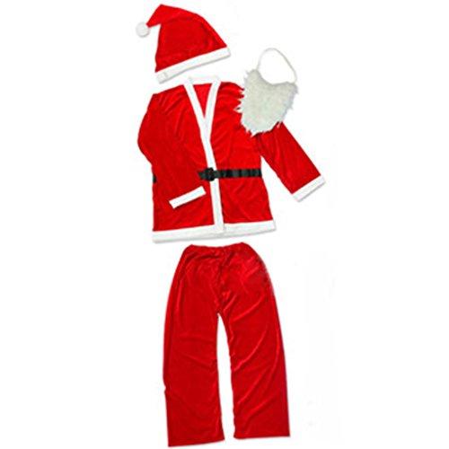 Masterein Weihnachtsmann Anzüge Set Weihnachten Tuch Kostüme Weihnachten Cosplay Party Outfits für Jungen Alter 10-13 Jahre Alt (Kinder Santa Anzug)