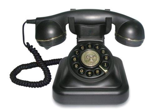 Brondi Vintage 20 - Teléfono analógico con cable en un elegante diseño retro con detalles dorados