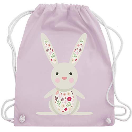 Tiermotive Kind - Süßer Hase - Frühlingstiere mit Blumen - Unisize - Pastell Rosa - WM110 - Turnbeutel und Stoffbeutel aus Bio-Baumwolle