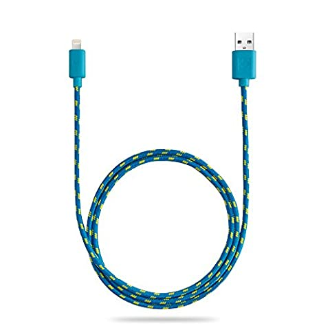 OKCS® Lightning Cable textile tressé Chargeur 1 mètres câble recharge chargement données USB pour Apple iPhone SE, 6s, 6s Plus, 6, 6 Plus, 5, 5s, 5c, iPad 4, Mini, Air, iPad Pro, iPod - iOS 9 - en bleu