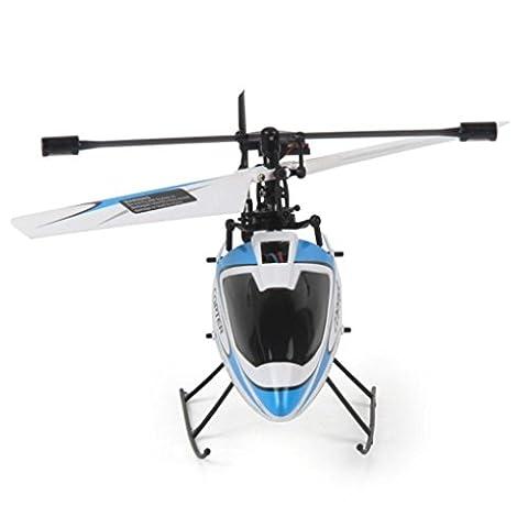 Ularma WLtoys V911 RC Hélicoptère Drone Radio 4CH 2. 4 G Unique Lame Hélice Gyro RTF (Bleu)