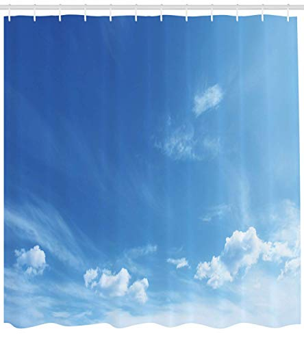 Presock Sky Duschvorhang, Blue Sky Inspirational Sun Rays and Clouds Weather Environment Themed Idyllic Image, Fabric Bathroom Decor Set with Hooks, 60 x 72Inch Long, Blue White (Duschvorhang Tmnt)