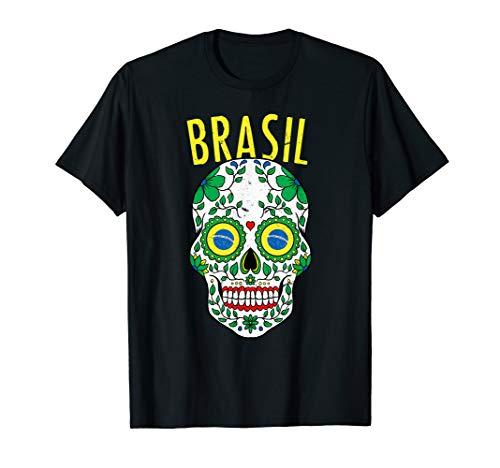 Vintager Brasilien-Zuckerschädel-Brasilien-Flaggen-Halloween T-Shirt
