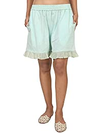 9teenAGAIN Women's Hosiery Solid Shorts (Aquamarine)