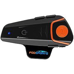 Casque la Communication Systèmes, Fodsports BT-S2 Moto Intercom 1000m Bluetooth Casque Moto Mains Libres Kit Fit pour Casque Moto Ski et Se Connecter avec Téléphone, Radio FM, 2-3 Riders