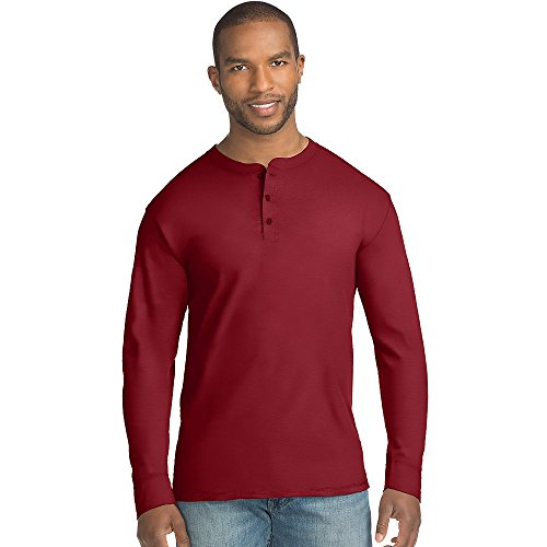Hanes Mens X-Temp w/Fresh IQ Long Sleeve Henley T-Shirt