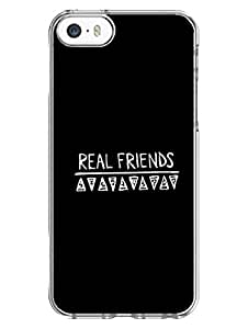 iPhone 5 5S Cover - Real Friends - Typography - Designer Printed Hard Case with Transparent Sides