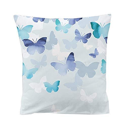 etérea Mako Satin Bettwäsche - 100% Baumwolle Superweicher Kopfkissenbezug - Lilu Schmetterlinge - seperater Kissenbezug mit Reißverschluß 80 x 80 cm - Blau Natur -