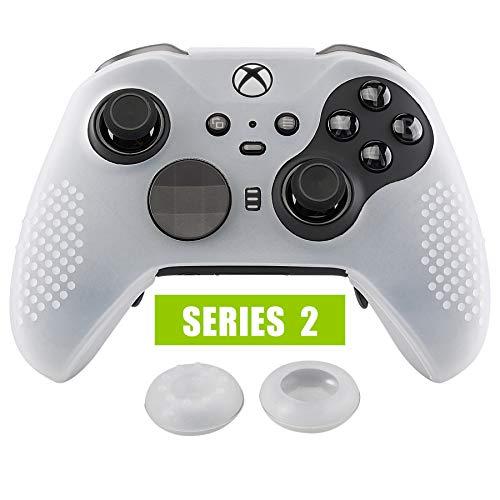 eXtremeRate Cover Skin per Xbox One Elite Controller Series 2, Custodia Protettiva in Silicone con Gommini Coprilevette Analogiche Thumb Grips Antiscivolo per Xbox One Elite V2 Joystick(Bianco)