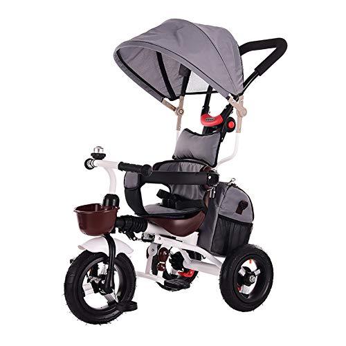 Triciclo Passeggino, Smart Trike,Toys Triciclo Passeggino Pieghevole 4 in 1 con Maniglione Direzionabile E Cappottina Parasole per età 0.5-5 Anni,C