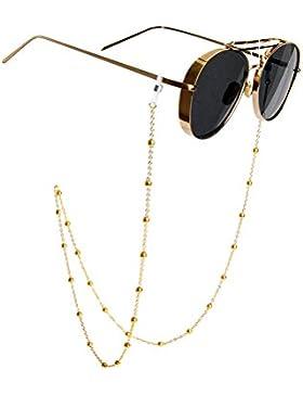 Cadena retro antideslizante de metal con cuentas para sostener las gafas del cuello, para mujer