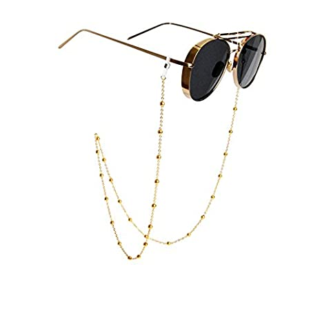 Rutschfeste Retro Sonnenbrille Schlüsselanhängerform Brillen-Perlenkette Umhängeband Eyewear Retainer Metall Seil Halterung für Frauen