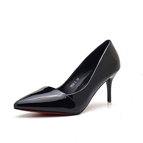 TYLS Shoes lww-Calzature donna tacchi appuntita in pelle colore solido di altezza di un punto: 9cm B paragrafo: 7cm Black-A