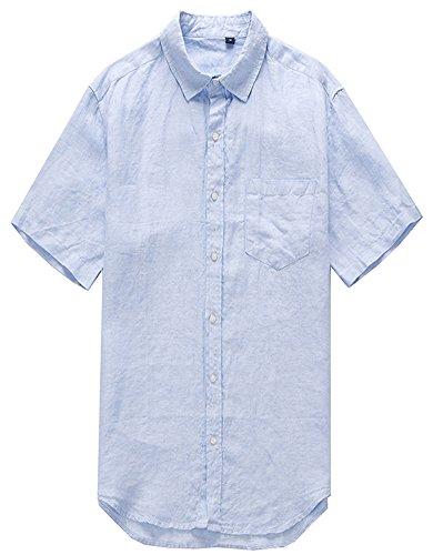 Insun Herren Leinen Kurzarm Hemd Loose Freizeit Leicht Flachs Hemd Mit Knopf Sommer Bluse Kurze Ärmel Shirts Himmelblau