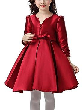 Happy Cherry - Rojo Rojo Vestido Formal de Princesa con Mangas Largas Traje de Fiesta para Niñas Boda Ceremonia...