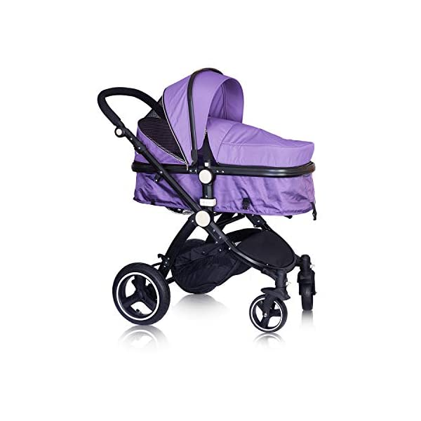 High Quality Baby Stroller IBEIS Prams 2 in 1 for Newborns European Folding Baby Carriage for 0 to 36 Months (Purple) IBEIS 360 degrees turn Easy fold-able button Tiltable (various angles) 3