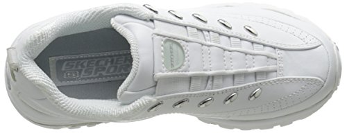 Skechers Sport Women's Premium-Premix Slip-On Sneaker,White/Navy,10 M US Bianco