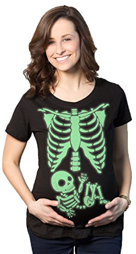 Crazy Dog TShirts - Maternity Glowing Skeleton T-Shirt Funny Baby Halloween Pregnancy Tee (Black) M - damen - M