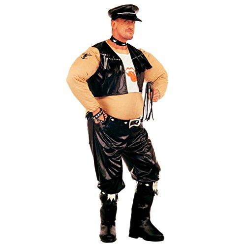 Kostüme Lustig Fett (Lustiges Rocker Biker Fett Kostüm Fettkostüm Bikerkostüm Rockerkostüm Fettie Fasching Karneval M /L)