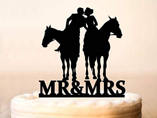 Tortenaufsatz Braut und Bräutigam mit Pferd, Kuchen Topper Landhaus Hochzeit Kuchen Topper Cowboy mit Lasso Wild West 0214 (Cowboy Sex Homosexuell)
