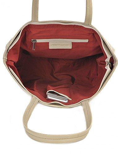 Shopper aus Leder, Gelb - elegante Tasche mit Reißverschluss, Schultertasche für Uni, Schule, Arbeit - für Tablet, Portemonnaie - 45 x 29 x 16 cm - Ledertasche von PHIL+SOPHIE Taupe Creme