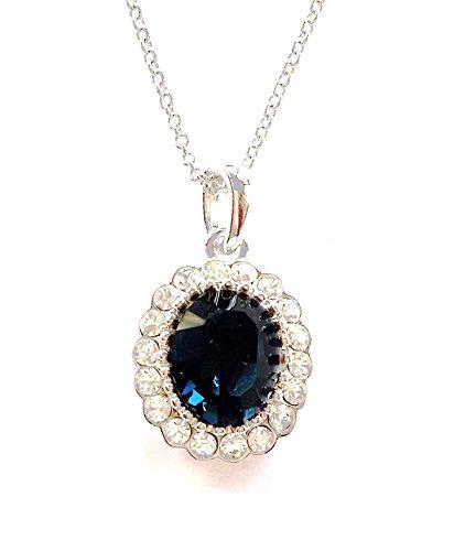Oro bianco 18K placcato zaffiro blu SWAROVSKI CRYSTAL ovale di figura della collana del pendente Fashion Jewellery , compleanno perfetto San Valentino Natale Festa della mamma regalo per