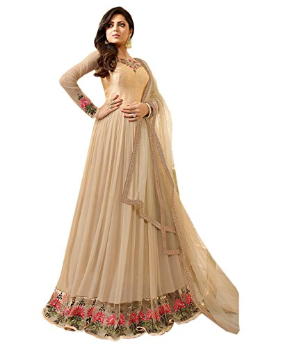 Cream Faux Georgette Embroidered Long Anarkali Salwar Suit  available at amazon for Rs.1449