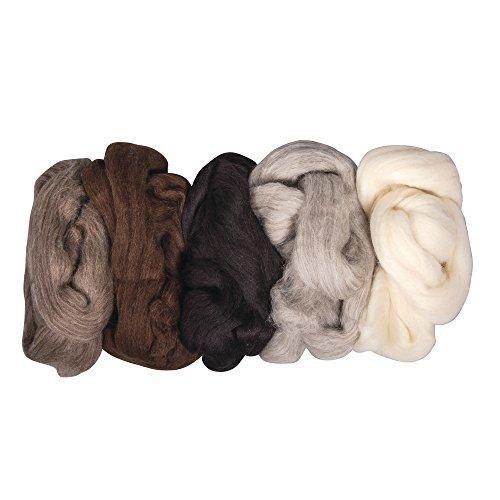 Rayher Reine Schurwolle-Kammzug, 5 Farben à 25g, 125g, Naturmischung, Wolle, 25 x 16 x 6 cm -