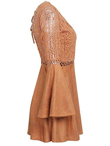 Missy Chilli Damen Kurz Kleid Elegant Langarm V-Ausschnitt Rückenfrei Cusual Spitze Kleid mit Trompete Ärmel, Gr.-34/ Small