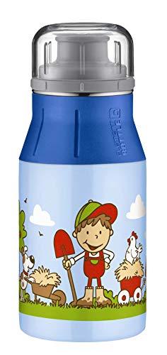 alfi 5357.121.040 Trinkflasche elementBottle, Edelstahl Farm Blau 0,4 l, Spülmaschinenfest, BPA-Free