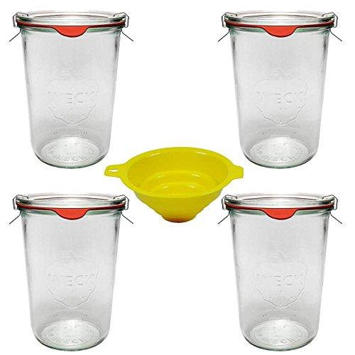 4 Weckgläser / Rundrandgläser in Sturzform 750 ml (auch gut geeignet für Kuchen im Glas) inkl. Klammern+Ringe und einem gelben Einfülltrichter mit Arretierung