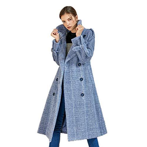 TK-show Herbst und Winter Fischgrät Wolle Mantel weibliche Lange Abschnitt koreanische Version des großen Revers Mantel weibliche Reine Wolle S-Code