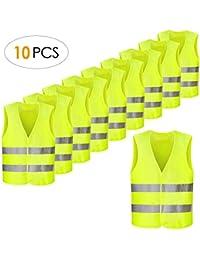 FEMOR Set de 10pcs de Chaleco de Seguridad Reflectante de Alta Visibilidad XXXL 63 x 58