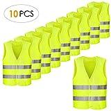 FEMOR Set de 10pcs de Chaleco de Seguridad Reflectante de Alta Visibilidad XXXL 63 x 58 cm Color Amarillo