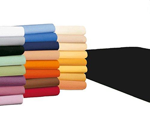 badtex24 Spannbettlaken 90 100 x 200 Spannbetttuch Bettlaken Jersey 100% Baumwolle 20 Farben Schwarz 90x190-100x200cm