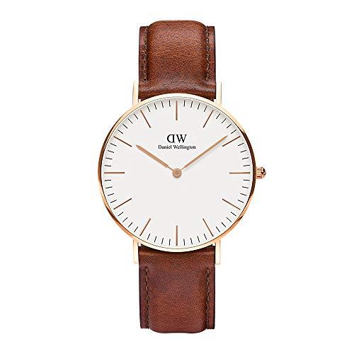Daniel Wellington - Reloj analógico para mujer de cuero, color marrón