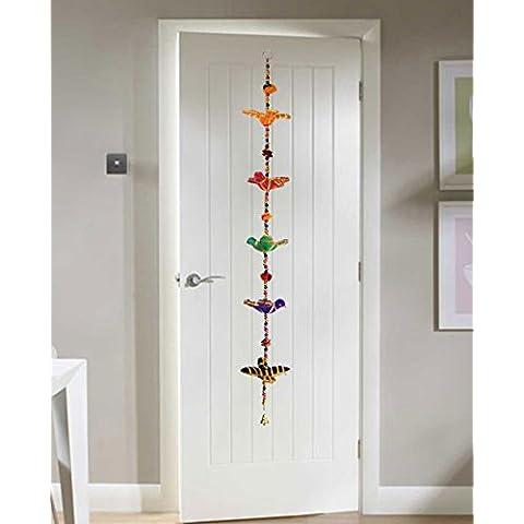 Pared puerta colgando vibrante Birds oro rayas de cuerda con los granos y campanas de bronce de