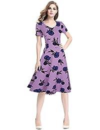 Las mujeres Swing vestido floral impreso vestido vintage dress vestido de manga corta