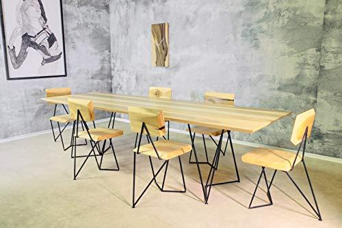 """Essgruppe\""""Maze\"""" mit 6 Stühlen - Massivholz (Tulpenbaum)"""