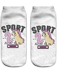 HENGSONG Femmes Fille Unicorn Cartoon Bas Chaussettes Sport Bottillons de Scène Colorful