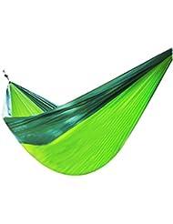 MagiDeal Doble Persona Al Aire Libre Que Va De Excursión Viaje En Paracaídas Hamaca Colgante De Nylon - Verde negruzco + manzana verde, 250 x 130 cm / 98,5 x 51 pulgadas