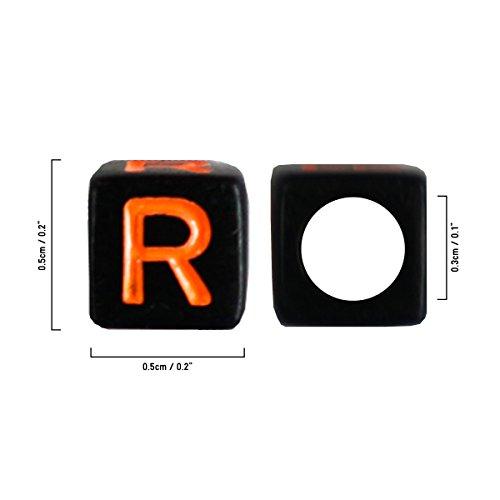 Kurtzy 300 Quadratische Alphabet Buchstabenperlen 5 x 5mm DIY Armband, Halsketten-Herstellung und Kinderschmuck Bastelperlen - Acryl-Buchstaben Bunte Perlen für Qualitäts-Spaß und -Ergebnisse