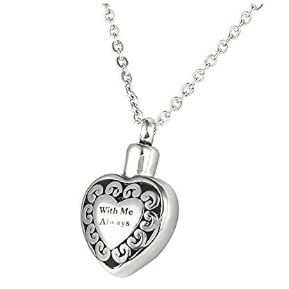SODIAL Cremation Jewellery Stainless Steel with Me Always Heart Urn Pendant Necklace - Memorial Ash Keepsake 1