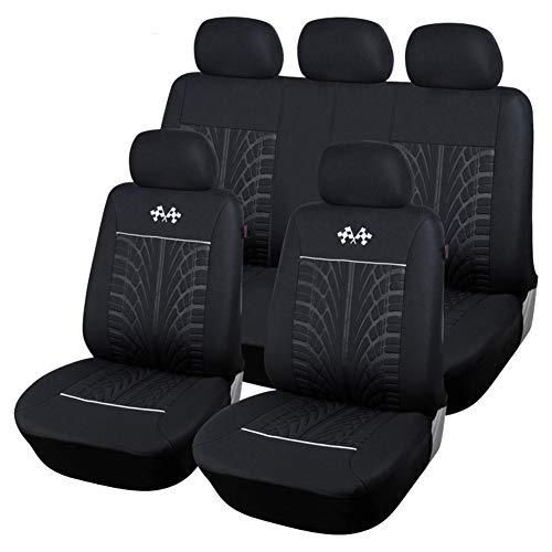 Sportwagen-Sitzbezüge Universal Absorbent Anti-Rutsch-Waschbar Vorne und Hinten komplett mit Kopfstützenbezügen (Schwarz)